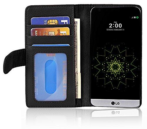 Cadorabo Funda Libro para LG G5 en Negro ÓXIDO - Cubierta Proteccíon con Cierre Magnético e 3 Tarjeteros - Etui Case Cover Carcasa