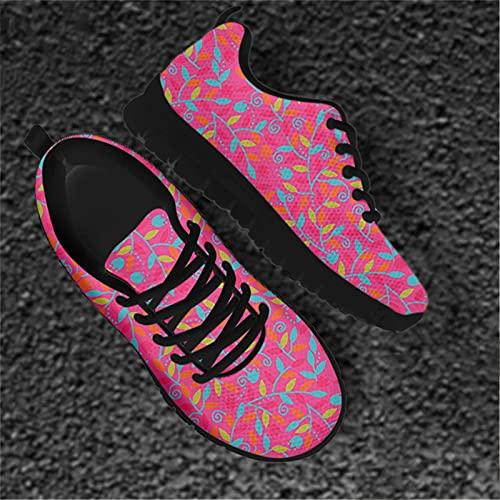 Hinewsa Hojas coloridas de las señoras de la manera de las zapatillas de deporte con cordones para las mujeres Casual Feamle zapatos planos calzado HX1109BAQ 36