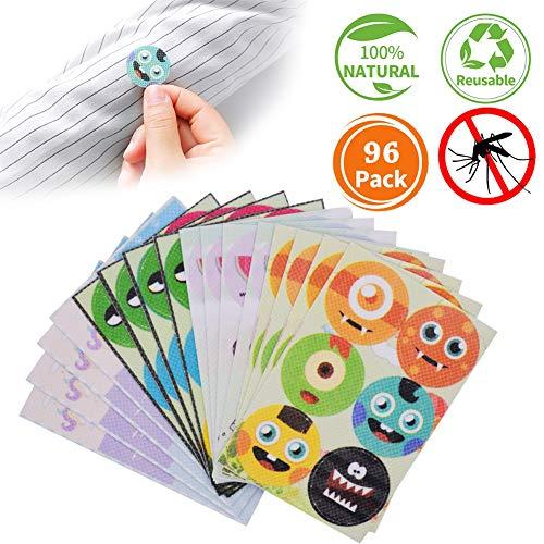 WENTS Mückenschutz Aufkleber 96 Stück Natürliche Ungiftige Mückenabwehr Pflaster für Kinder und Erwachsene, Zuhause Zelten Angeln Reisen(Zufälliges Muster)