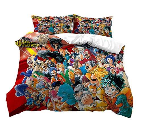 Juego de cama personalizado My Hero Academy, juego de ropa de cama de microfibra con dibujos de Anime de 2/3 piezas, funda de cama, funda de cama de adulto, Textiles para el hogar,135x200cm(2piezas)
