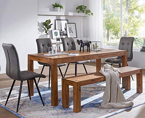 KADIMA DESIGN Esszimmer Sitzbank UMBAI Massiv-Holz Sheesham Holz-Bank Natur-Produkt Küchenbank im Landhaus-Stil HxBxT: 45x120x35cm