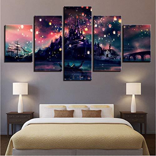Leinwand Malerei Dekoration HD Drucke 5 Stücke Spiel Burg Wandkunst Landschaft Modulare Bild Für Wohnzimmer Kunstwerk Poster