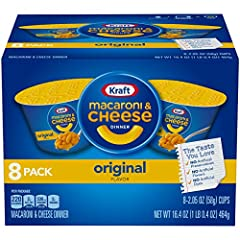 Eight 2.05 oz cups of Kraft Easy Mac Original Flavor Macaroni & Cheese Dinner Each cup is full of the familiar gooey Kraft mac and cheese you've always loved Perfect size for an on-the-go snack or an office meal Perfect size for an on-the-go snack or...