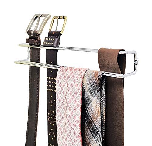 Wenko 5970100 Porta cravatte e cinghia  - dentro l'armadio per vestiti, Metallo Cromo, 36 x 4.5 x 5 cm, Argento lucido