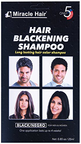 Miracle Hair: Black Hair Dye - Hair Blackening Shampoo - 12 Pack - Smooths and Conditions Hair, Easy Apply Non-Drip Formula, Long-Lasting Gray Hair Coverage in Under 5 Minutes
