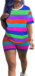 FSSE Women Casual 2 Pcs Set Short Sleeve Stripe Print T-Shirt & Shorts Tracksuits Outfit