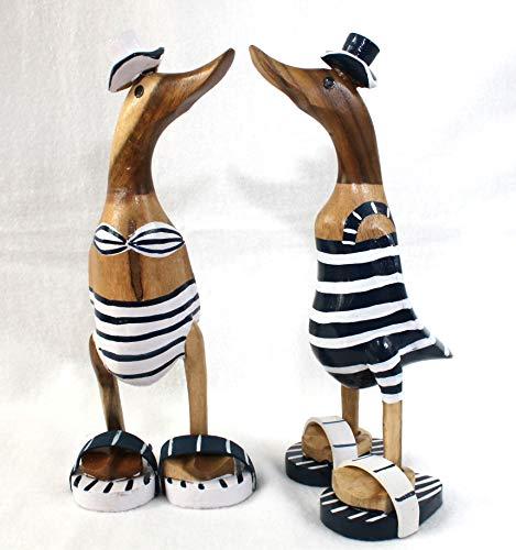 Deko Enten Paar mit Badeanzug 28 cm Holz Weiss und blau Handarbeit Unikate