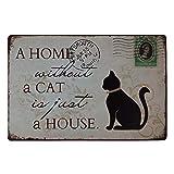 Lumanuby 1x Deko Wandschild von Schwarz Katze für Hause Metall Schild mit Wort 'A Home Without A...
