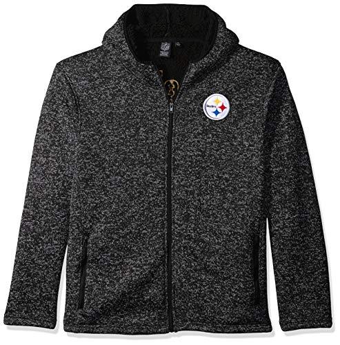 Ultra Game NFL Pittsburgh Steelers Mens Full Zip Fleece Hoodie Letterman Varsity Jacket, Team Color, X-Large
