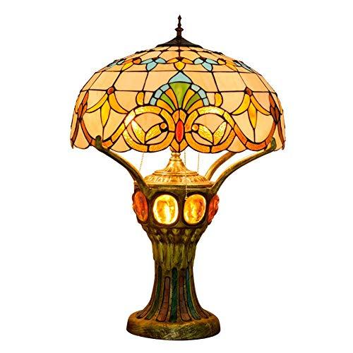AWCVB Lámpara De Mesa De 20 Pulgadas Bohemia Tiffany Hand Fabricación De Vidrios De Vidrieras Luz Retro Pastoral Mediterráneo Lámparas