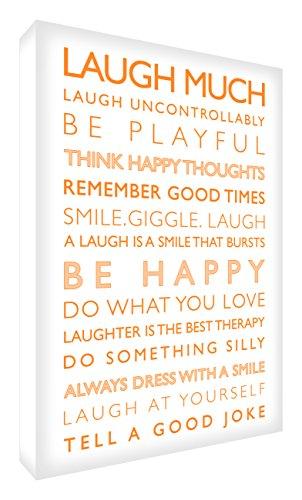 Feel Good Art Gallery - Cuadro de lona con panel frontal sólido (91 x 60 x 4 cm), color blanco y naranja