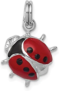 925 Sterling Silver Enamel Ladybug Pendant Charm Necklace Insect Fine Jewelry Gifts For Women For Her