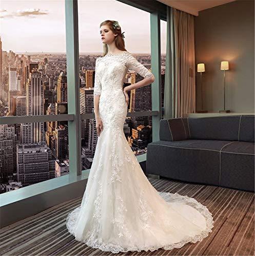 Elegce-Z bruidsjurk prinses Mermaid bruidsjurk met kant met mouwen Perfect Line wit