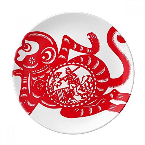 DIYthinker Papercut Chine Signe zodiacal Chinois Singe Art décoratif en Porcelaine Assiette à Dessert 8 Pouces Dîner Accueil Cadeau 21cm diamètre Multicolor