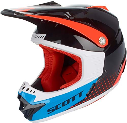 Scott 350 Pro MX Enduro motorfiets/fietshelm voor kinderen, zwart/oranje/blauw 2019 L (52-53cm) oranje/blauw.