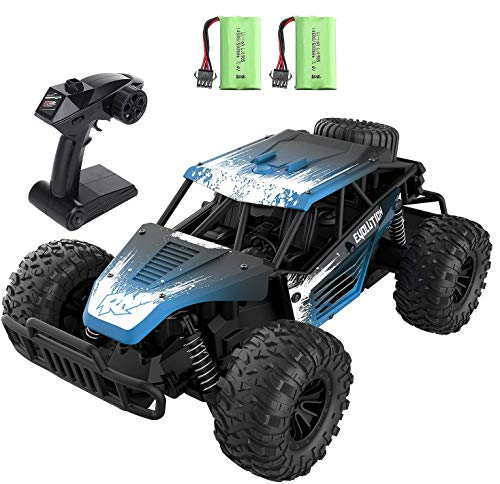 Remote Control Car for Boys 8-12, EACHINE EC16 1/16 RC Off Road Truck 2WD RC High Speed Cars with 2 Batteries Runs 45 Mins 2.4Ghz 20km/h All-Terrain Waterproof RC Truck Toy Gift for Kids and Adults