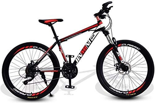 HCMNME Mountain Bikes, 26 Pollici Mountain Bike Uomo Adulto e Donne Variabile Mobility Mobility Bicycle 40 Cutter Ruote Telaio in Lega con Freni a Disco (Color : Black Red, Size : 21 Speed)