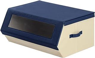 ぼん家具 収納ボックス ふた付き カラーボックス 布製 衣類収納ボックス おもちゃケース 〔窓あり〕 幅60cm ネイビー