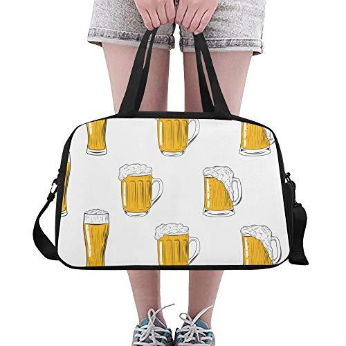 ZHANGhome Herren Sporttasche Kreative Retro Party Bier Trinken Yoga Gym Totes Fitness Handtaschen Seesäcke Schuhtasche Für Sportgepäck Damen Outdoor Damen Umhängetasche