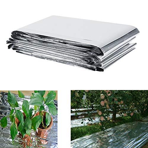 GOTOTOP Reflektierende Folie, 210 x 120 cm, Silberfarben, Gewächshausfolie, Gartenwachsenlicht, Zubehör