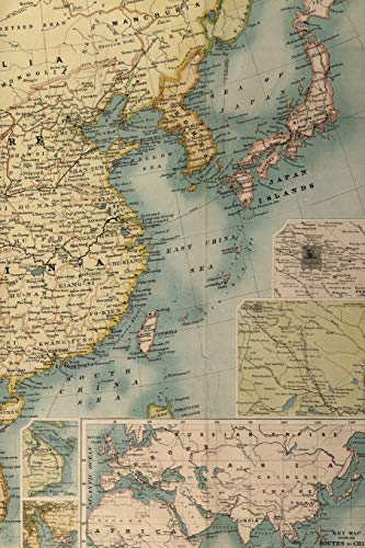 1900 Map of Southeast Asia Including China, Laos, Cambodia, Vietnam, and Thailand - A Poetose Notebook (50 pages/25 sheets)