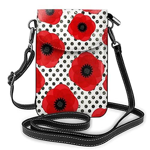 Bolso de cuero ligero de la PU pequeño bolso de Crossbody mini bolsa del teléfono celular bolsa de hombro con correa ajustable grandes flores rojas de amapola en negro