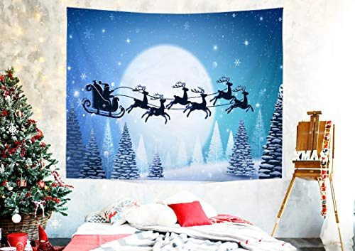 Christmas Tapestry Wall Hanging Decoration for Living Room Bedroom Dorm with Forest Elk Pulling Sleigh and Santa Claus Snow Scenery Moon Art for Xmas Party Decor Backdrop Photo Booth Props Large