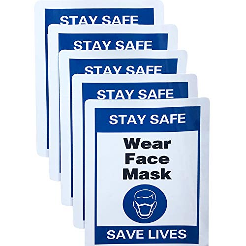 """Covid Signs for Businesses   Wear a mask Sign   Large 5 in 1 Pack   Social Distancing Sign   7.9"""" X 11.8""""– Waterproof, Covid 19 Stickers – Vinyl (Blue)"""