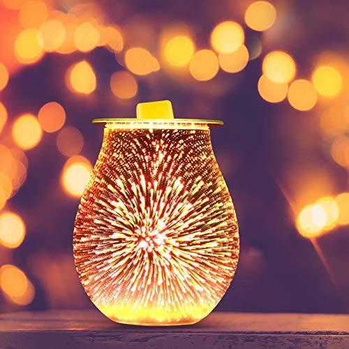 TiooDre Duftlampe Wachs 3D Feuerwerk Scentsy Duftlampe Energie Sparen Duftlampe Elektrisch Duftlampe Teelicht Elektrisch Duftöl Lampe für Home Office Schlafzimmer Geschenke (3D Glass)
