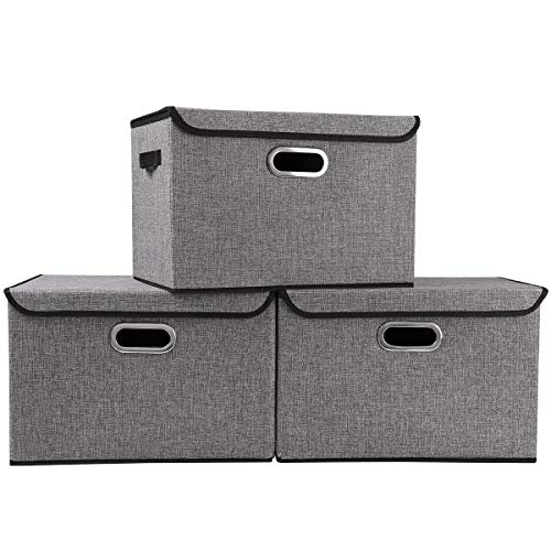 Large Foldable Storage Boxes Bins with Lids3Pack Stackable Collapsible Linen Fabric Storage Container Organizers with Handles for Home Bedroom Closet Office Gray Color