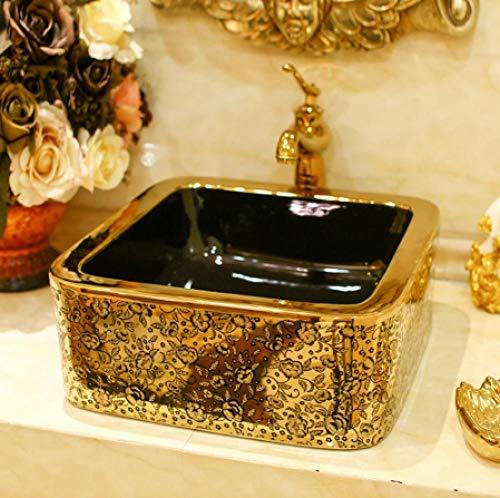 YYZD® keramik tvättställ Fyrkantig bonsai bonsai keramik badrum tvättställ tvättställ handfat gyllene rotting fisk-B