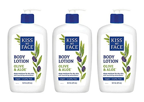 Kiss My Face Olive & Aloe Moisturizer for Sensitive Skin, 16-Ounce Bottles (Pack of 3) by Kiss My Face
