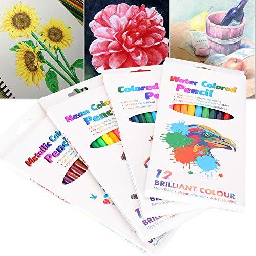 Juego de 4 cajas de lápices de colores, lápices de colores para estudiantes de arte, para bocetos de artistas, escritura para estudiantes