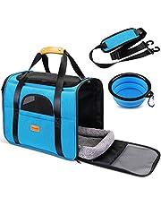 morpilot Składana torba do przenoszenia psa, torba dla kotów, torba do noszenia zwierząt domowych, torba transportowa z tkaniny Oxford, z paskiem na ramię i składaną miską dla psów lub kotów