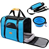 morpilot Dog Carrier, Portable Cat Carrier Pet Travel Carrier Bag for Cats and Small Dogs, Breathable Pet Airplane Carrier with Locking Safety Zippers, Airline Approved Dog Cat Cage + Foldable Bowl
