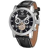Reloj de pulsera de piel automático para hombre Forsining, tourbillon, FSG165M3S4