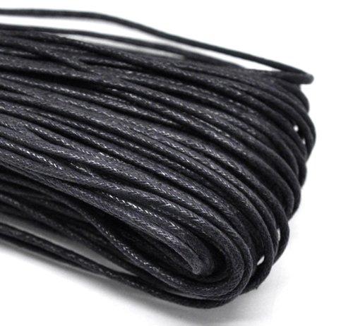 Jewellery Findings - Cordoncino per gioielli, in cotone cerato, spessore: 2 mm, lunghezza: 5 m, colore nero