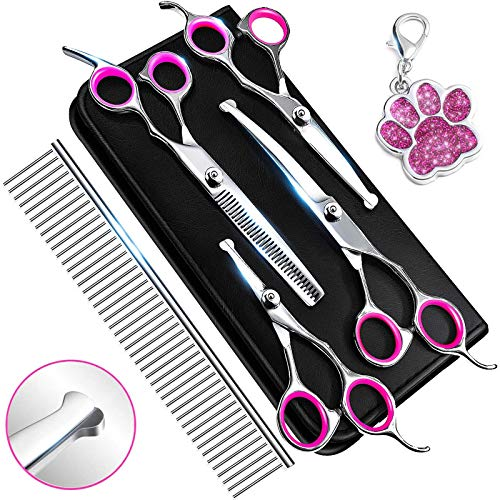Dog Grooming Scissors, Grooming Scissors for Dogs with Safety Round Tip, Dog Scissors for Grooming - Thinning, Straight, Curved dog Shears and Comb for Trimming Face, Ear, Nose & Paws