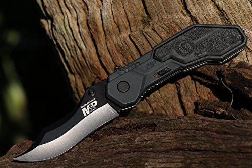 Smith & Wesson M&P SWMP1B 7.1in 4034 Assisted Folding Knife with 2.9in Clip Point Blade and Aluminum Handle for Tactical, Survival and EDC