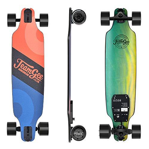 Teamgee H8 - Elektro Skateboard, E Skateboard mit Fernbedienung, Ultra Dünn, Integrierte Akku 480W Motor, bis zu 14km Reichweit, Ahornholz Deck, 75KG Max Belastung, Für Jugendliche