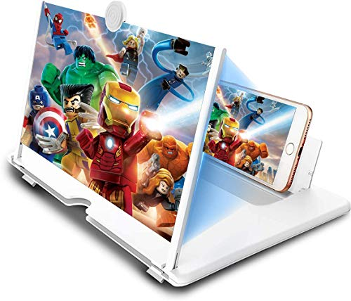 12' Screen Magnifier, 3D HD Mobile Phone Magnifier Projector Screen for Movies, Videos, and Gaming, Foldable Phone Stand with Screen Amplifier Supports All Smartphones(White)