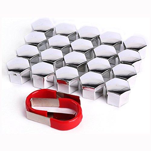 Tuqiang® 20 Stück 17mm Kappen-Set Radschraubenkappen Radkappen inkl. Abzieher Silber für VW für BMW für AUDI (Silber)