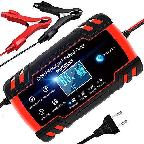YDBAO Caricabatteria da Auto 12V/24V 8A con Schermo LCD Caricabatteria Auto di Carica con Protezione Multipla Intelligente Caricabatteria Auto Moto Automatica Caricabatteria Mantenitore