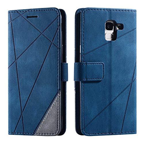 Hülle für Samsung Galaxy J6 2018, SONWO Premium Leder PU Handyhülle Flip Case Wallet Silikon Bumper Schutzhülle Klapphülle für Galaxy J6 2018, Blau
