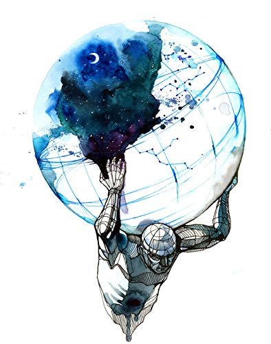 Abstract Ink Art of Atlas Holding The Earth 9023345 (12x18 Signed Print Master Art Print - Wall Decor Poster)