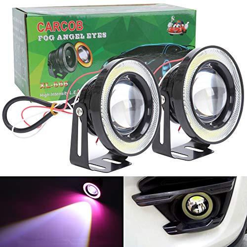 TABEN Projecteur LED COB universel 89 mm, blanc, 3200 lm, antibrouillard, anneaux « angel eyes », CC 12 V