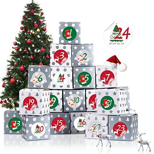 Adventskalender zum Befüllen, Adventskalender Boxen, 24 Adventskalender Schachteln, Weihnachten Geschenkboxen für Weihnachtliche DIY Handwerk