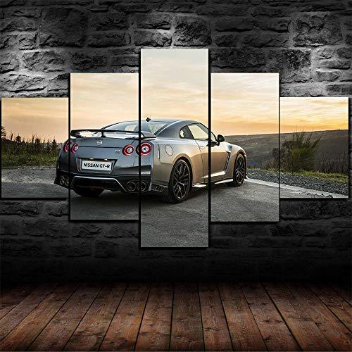 Cuadro sobre Lienzo 5 Piezas Cuadros En Lienzo Grande Vogue Composición 5 Cuadros Pared Cuadros Abstracto 5 Piezas Grandes Modernos Salon Decor Murales Nissa Car GTR Gt500 Skyline Car