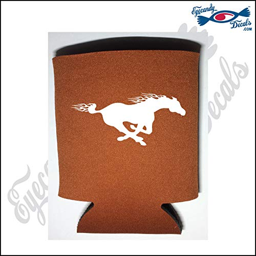 Eyecandy Decals Horse Running Mustang White on a Burnt Orange Pocket FOLD CAN Cooler