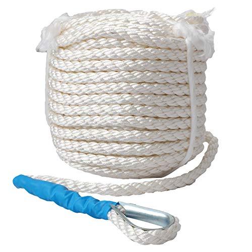 Pindex Cuerda de acoplamiento para barco, 1/2'x100' trenzado de polipropileno ancla línea cuerda blanca